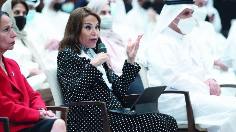 Al-Bahar Intermediate School Issam Al-Sager and Wafaa Al-Qatami during the forum