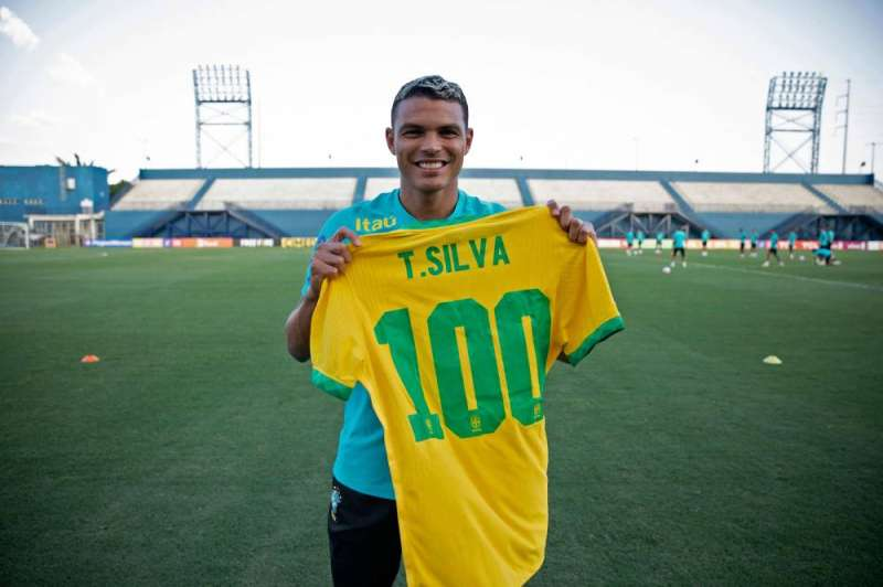 Thiago Silva will play his 100th international match for Brazil against Uruguay (AFP)