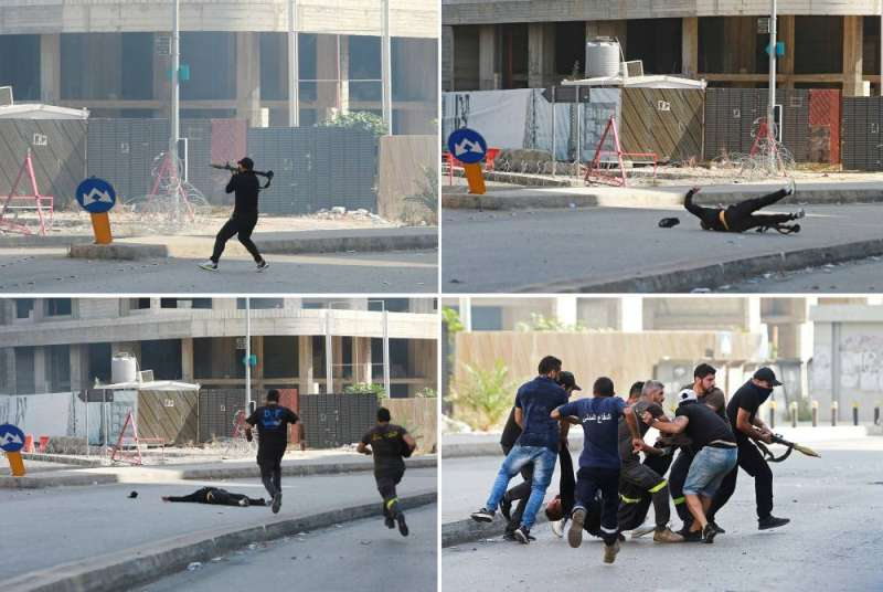 Continuous footage of a gunman preparing to fire a shell and then being shot and taken by his comrades from the scene (Reuters)